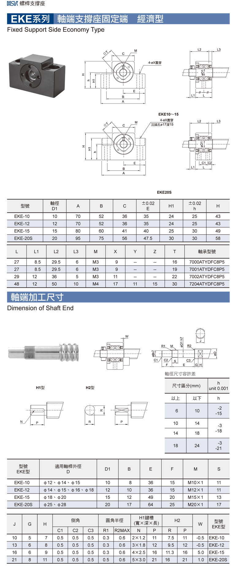 HSK ball screw support EKE catalog
