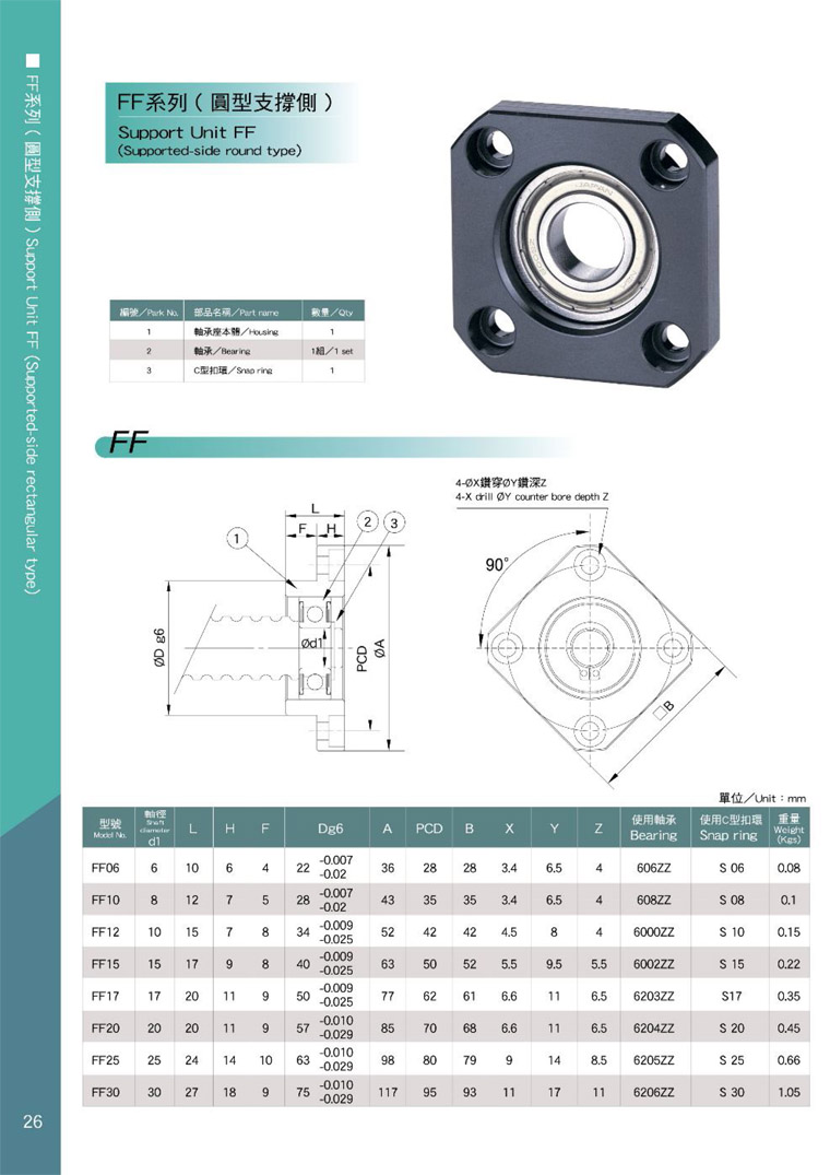 AKD ball screw support FF catalog