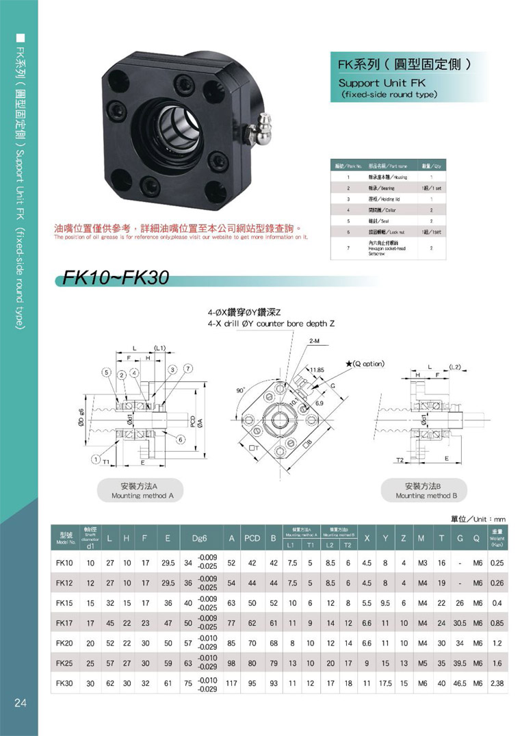 AKD ball screw support FK catalog .1