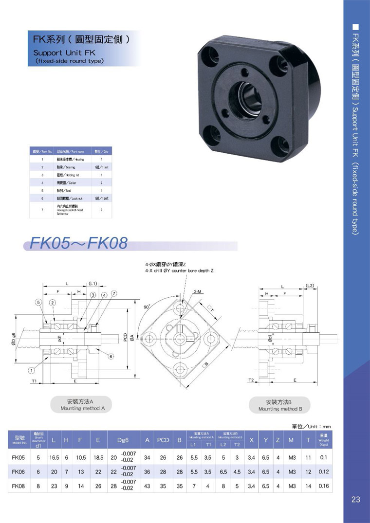 AKD ball screw support FK catalog .2